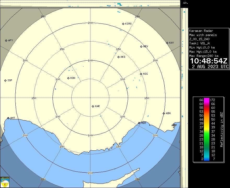 Radar Görüntüsü: Karaman, Maks