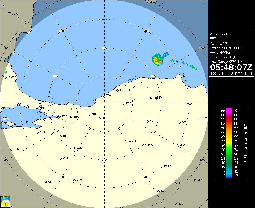 Radar Görüntüsü: Zonguldak, PPI