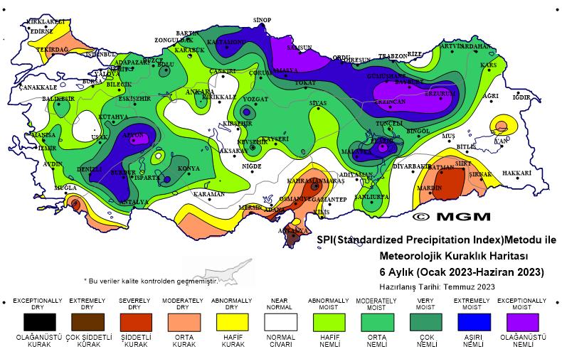6 Aylık Kuraklık Haritası